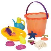 Набор для игры с песком и водой - Мега-ведерце Папайя (10 предметов)