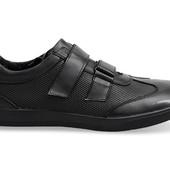Мужские кроссовки черного цвета из натуральной кожи! gr227