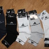 в наличии.Носки мужские спортивные х/б с сеткой Adidas, средние, ассорти