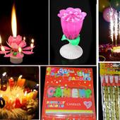 Музыкальная свеча, свечи и гирлянда С днем рождения, холодный фонтан для торта