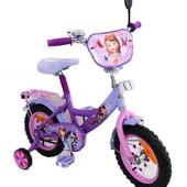 Велосипед двухколесный 12  колеса 161201 София, фиолетовый, звонок, зеркало, ножной тормоз