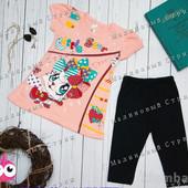 Костюм на девочку 92 98 104 110 116 размер, футболка штаны туника бриджи, Турция, 100% хлопок