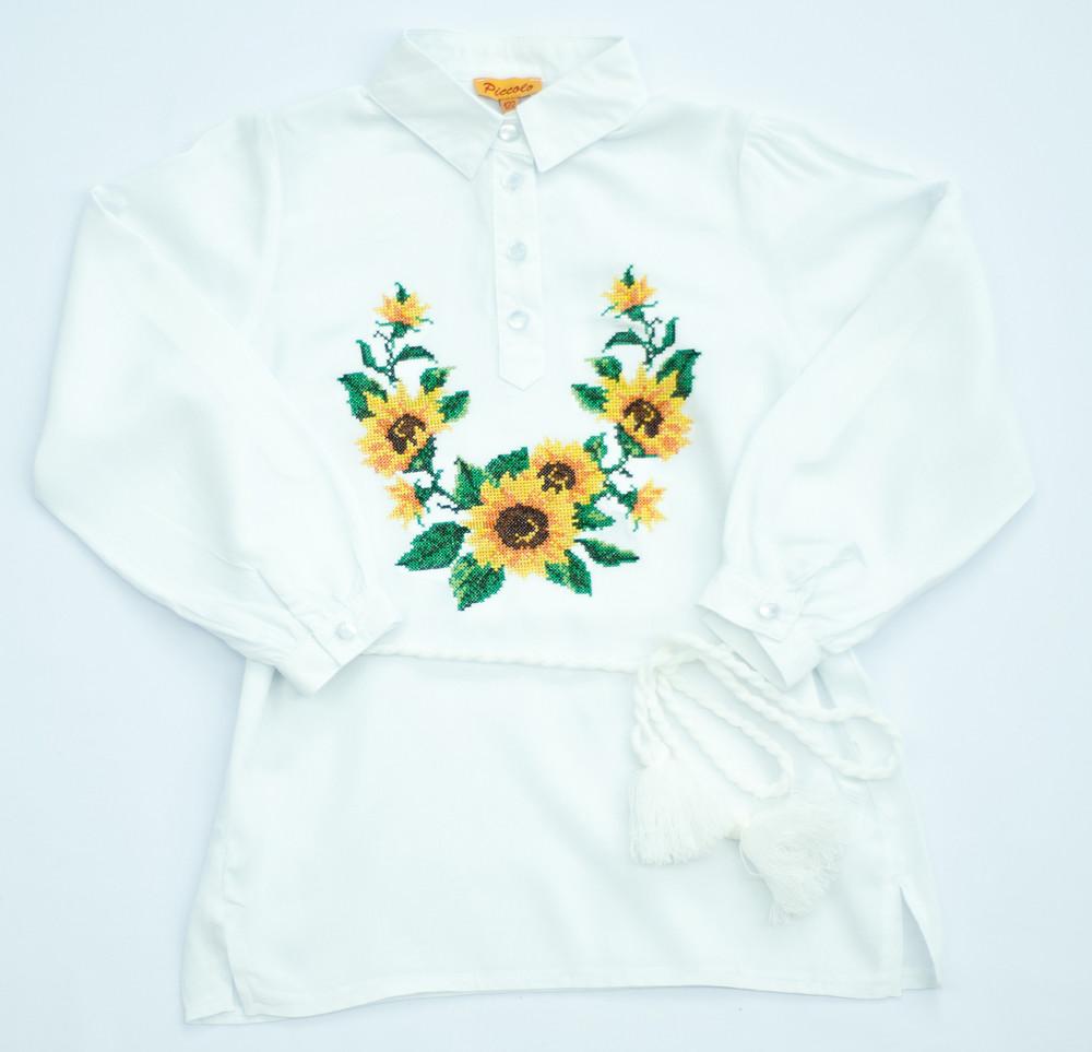 Вышиванка для девочки 122-170 подсолнухи фото №1