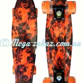 Скейтборд/скейт пенни борд (Penny Board) Happy Print Collection: 4 цвета, светящиеся колеса