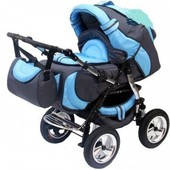 Коляска-трансформер для детей от 0 до 3х лет, Anmar Fox 7 цвет синий с голубым