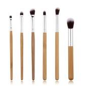 Набор кистей для макияжа с деревянными ручками 6шт. , кисти из бамбука.