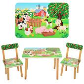 Деревянный стол с двумя стульчиками Vivast 501-10,ферма