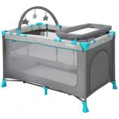 Детская кровать-манеж Lorelli Penny 2 Layers plus grey green