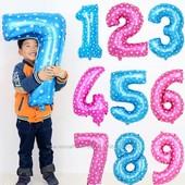 Воздушные шары цифры 70 см.Золото,серебро,розовые и голубые