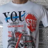 Мужская футболка 100% хлопок Мотоцикл Распродажа