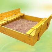 Песочница с откидными сиденьями, детская, деревянная, 150×150, сосна, от производителя, 8013