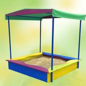 Детская песочница с накрытием, 150×150×180, детская, деревянная, цветная,сосна,от производителя,8012
