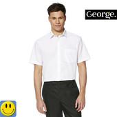 Новая белая мужская рубашка George р. xl - xxl. сток, с коротким рукавом