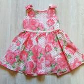 Нежное нарядное платьице с завышенной талией для маленькой принцессы. F&F. Размер 12-18 месяцев