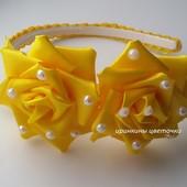 Желтые розы на обруче
