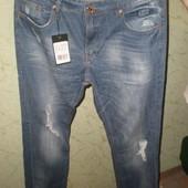 мужские стильные джинсы-рванки