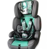 Качественное автокресло детское Bertoni Junior Premium Urban Green (серое с зеленым), с узором