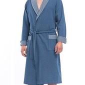 Хлопковый мужской халат DN 8019 SMP blue melange