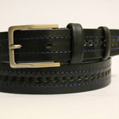 Ремень кожаный классический 35 мм с синей ниткой