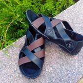 Цена снижена !!!Мужские сандалии кожаные размер 41-26 см  коричнево-чёрные