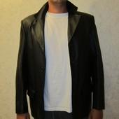 Мужской классический чёрный пиджак, натуральная кожа