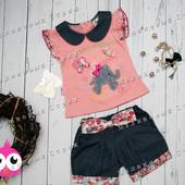 Летний набор на девочку 68 размер, легкая футболка, джинсовые шорты, 6 месяцев