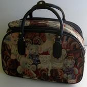 Дорожная сумка текстильная с мишками: большая, средняя, маленькая