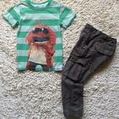 комплект на 2-4 года из футболки H&M и тонких летних штаников