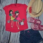 2 - 3 года 98 см Крутая фирменная футболочка для стильной девочки Next Некст