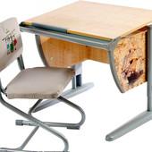 Парта детская трансформер, клен/серый с рисунком (фрегат) + стул. Дэми Д-20031094