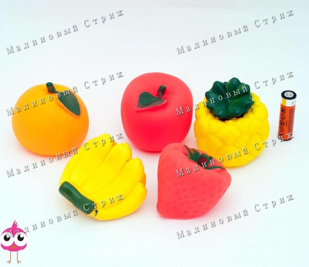 """Яркие пищалки """"фрукты"""", для купания для ванной, апельсин, клубничка, банан, яблоко, ананас фото №1"""