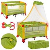 Манеж-Кровать двухуровневый с балдахином Bambi M 2707 зелено-желтый, пеленатор и качалка