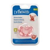 Силиконовая литая пустышка Dr. Brown's ортодонтическая 0-6 м розовая (11003)