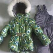 Детские зимние цветные комбинезоны-тройка для девочек 1-5 лет