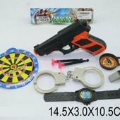 Набор героя, Полиция, пистолет на присосках, мишень, свисток, компас, часы, наручники  846-B1