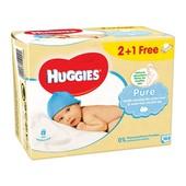 Влажные салфетки Huggies Ultra Comfort Pure 2+1 (56 х 3 шт)