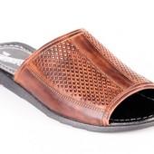 кожаные мужские шлепанцы 2 цвета модель:028