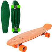 Скейт Пенни борд maxi Profi ms 0851 penny board с подшипниками abec-7( зеленый, оранжевый)