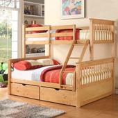 Двухярусная трехспальная кровать семейного типа Олигарх массив дерева