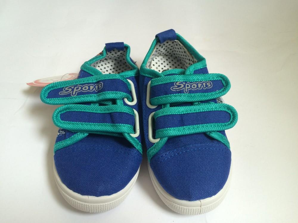 Мокасины на липучке синие для мальчика фото №2