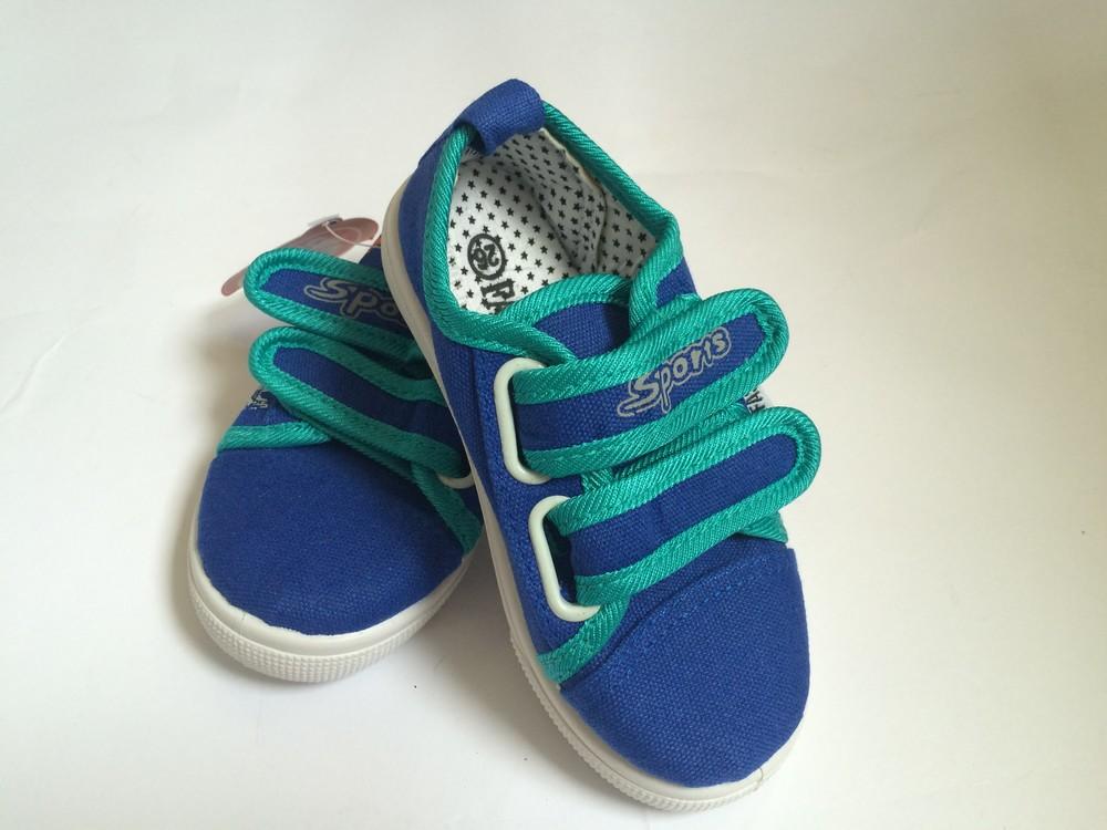 Мокасины на липучке синие для мальчика фото №3