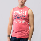 "Мужская кораловая майка ""Sunset Pacific California"""