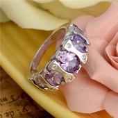 Серебренные красивые кольца с цирконом, разные цвета, 17 размер
