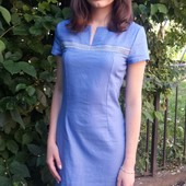Платье летнее льняное Ленточка цвет джинс, зеленый и салатовый