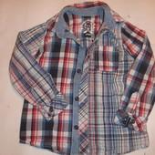 Фирменная M&S хлопчатобумажная стильная рубашка на 3-4 года