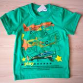 Зеленая футболка с самолетом на мальчика 18 месяцев