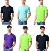 Мужские футболки C V Вырезом  много цветов.