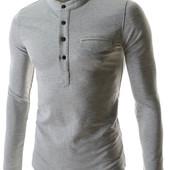 Стильная рубашка Хенли из спортивного трикотажа, меланж