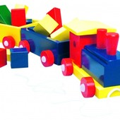 Паравоз цветной, 2 вагона с кубиками Bino 82141