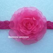 Цветок на малиновой повязке